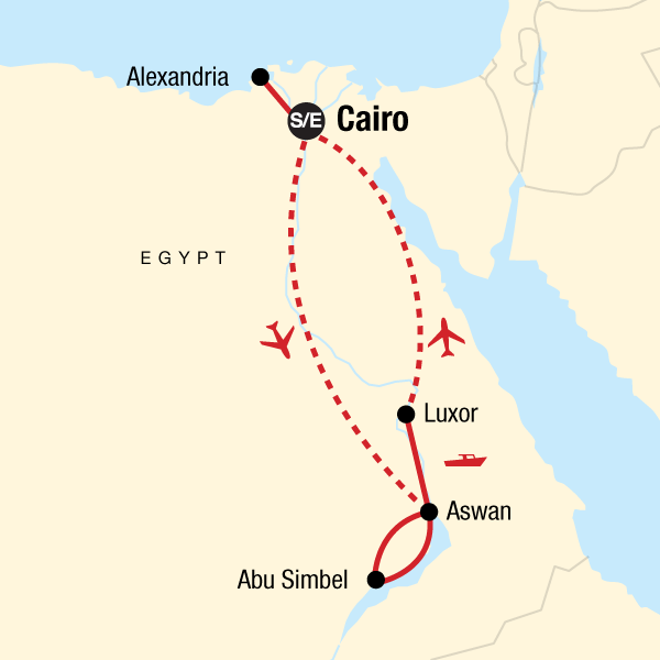 Map of the route for Egypt Upgraded