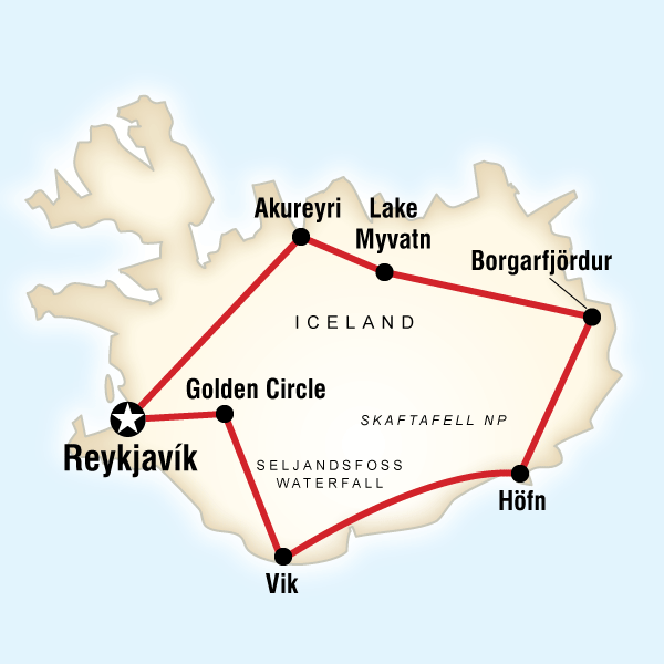 Map of the route for Best of Iceland