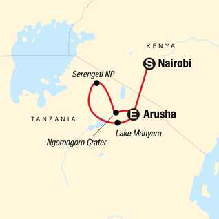 Map of Tanzania Camping Safari