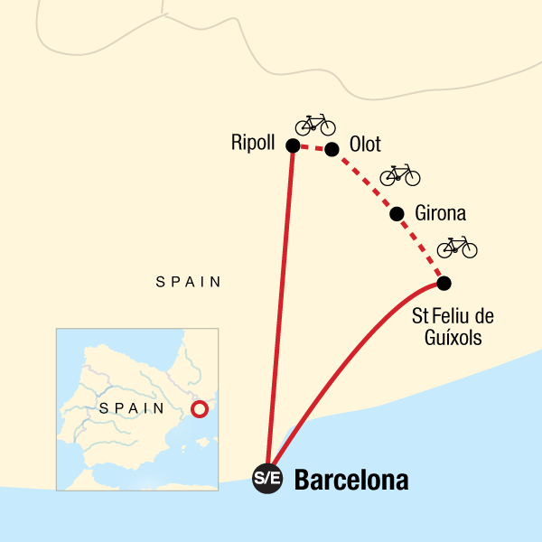 Map of the route for Cycle Northern Spain