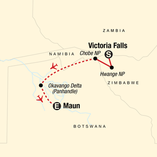 Map of Botswana & Zimbabwe Safari