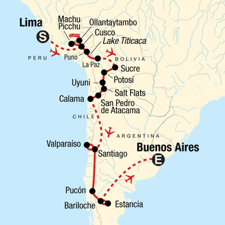Map of The Scenic Route - Lima to Buenos Aires