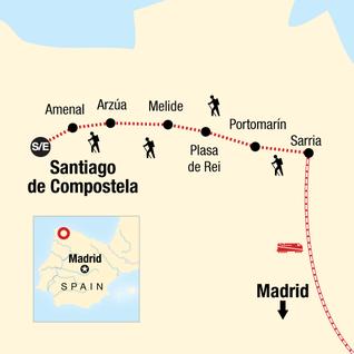 Map of Camino de Santiago Encompassed