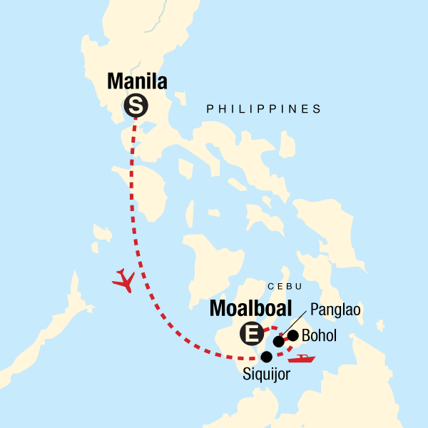 Map of the route for Islands of the Philippines on a Shoestring