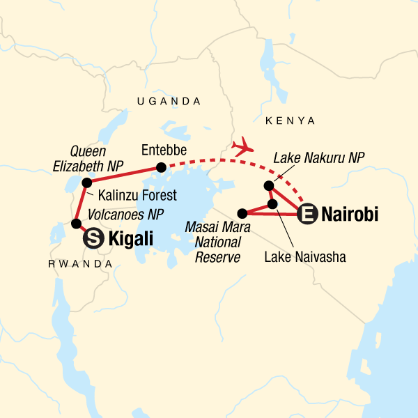 Map of the route for East Africa Gorilla & Safari Experience