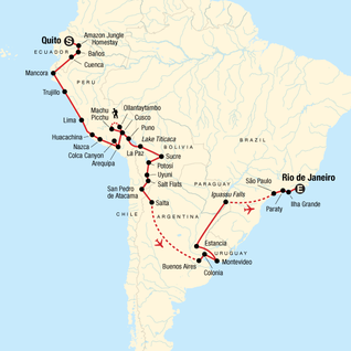 Map of The Great South American Journey: Quito to Rio Adventure