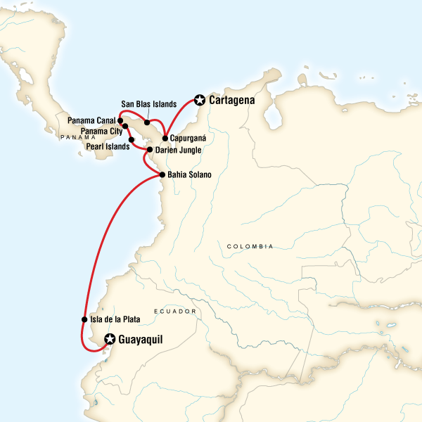 Map of the route for South America Cruise - Guayaquil to Cartagena