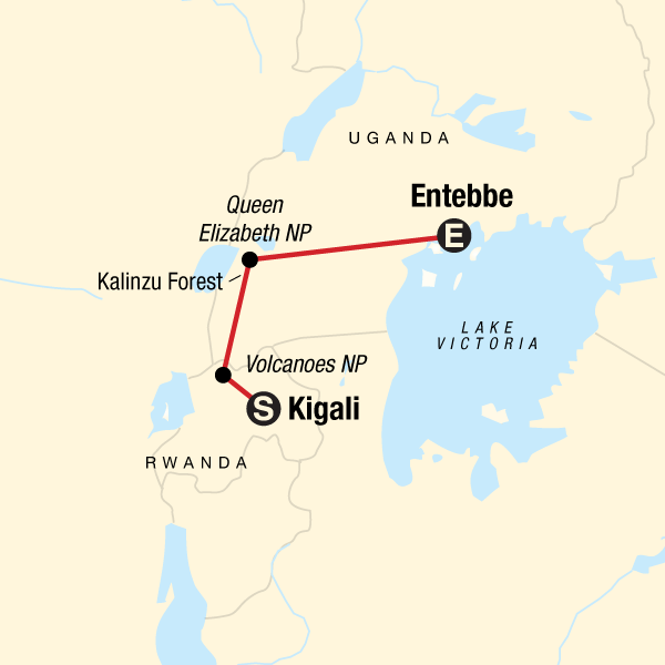 Map of the route for Rwanda & Uganda Gorilla Discovery