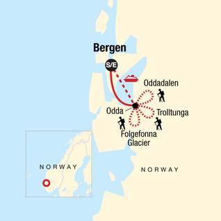 Map of Norway Fjord Trekking