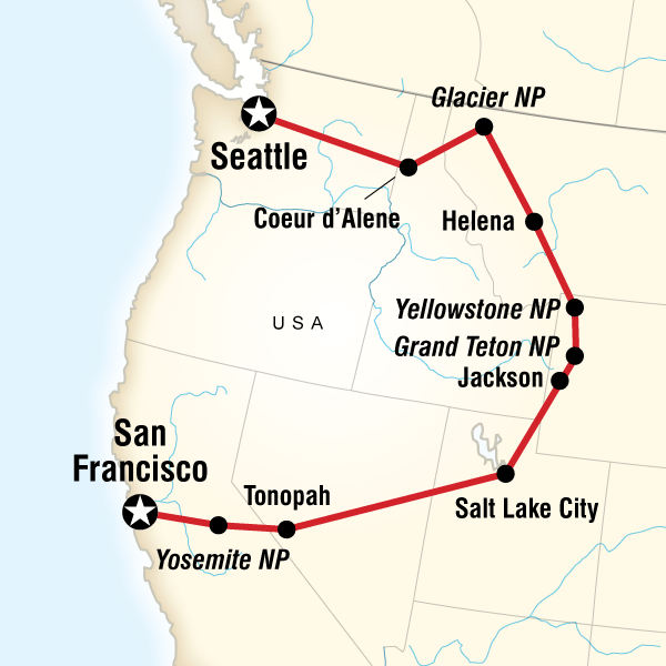 Map of the route for Camping Yosemite & Yellowstone