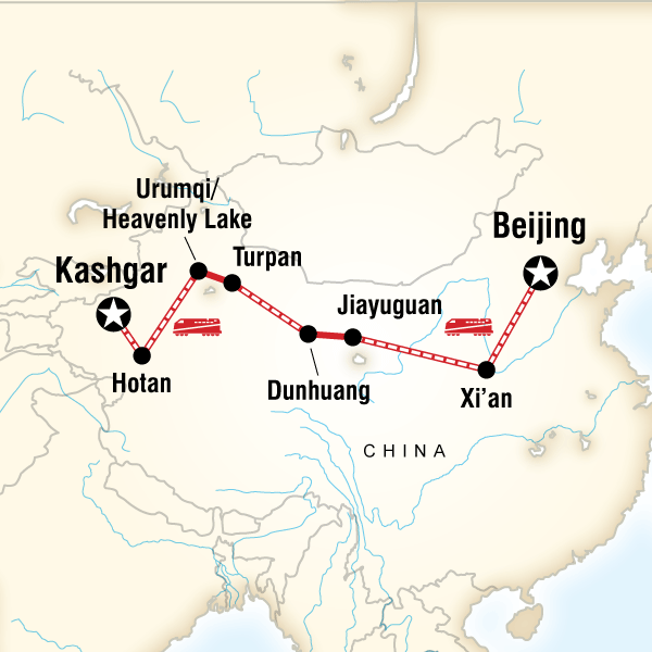 Map of the route for The Silk Road of China