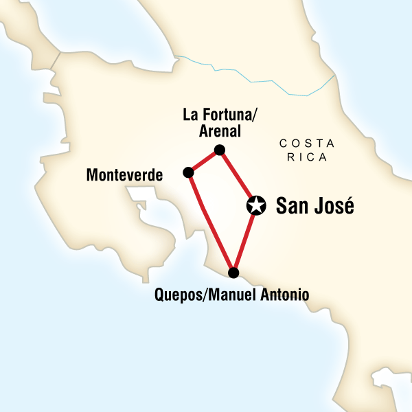 Map of the route for Costa Rica Quest