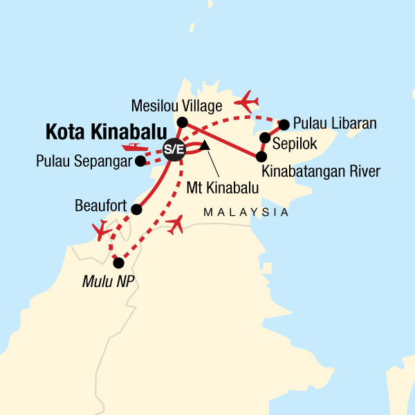 Map of the route for Borneo & Mt Kinabalu Encompassed