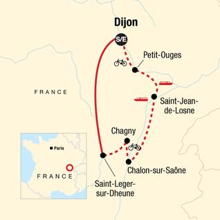 Map of Burgundy River Cruise Adventure — Plus