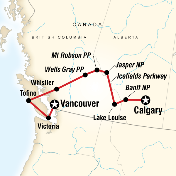Map of the route for National Parks of the Canadian Rockies Eastbound