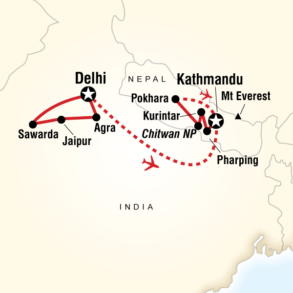 Explore india nepal in india asia g adventures map of the route for explore india nepal gumiabroncs Images