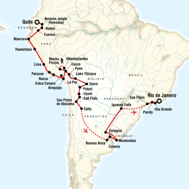 Tours for Gringo Trail – South America Travel Map