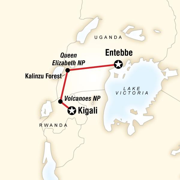 Cartina del tragitto per Rwanda & Uganda Gorilla Discovery