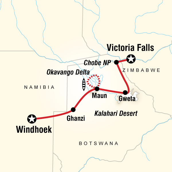 Map Of The Route For Delta Falls Overland Westbound