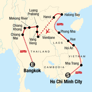 Map of Vietnam, Laos & Thailand: Riversides & Railways
