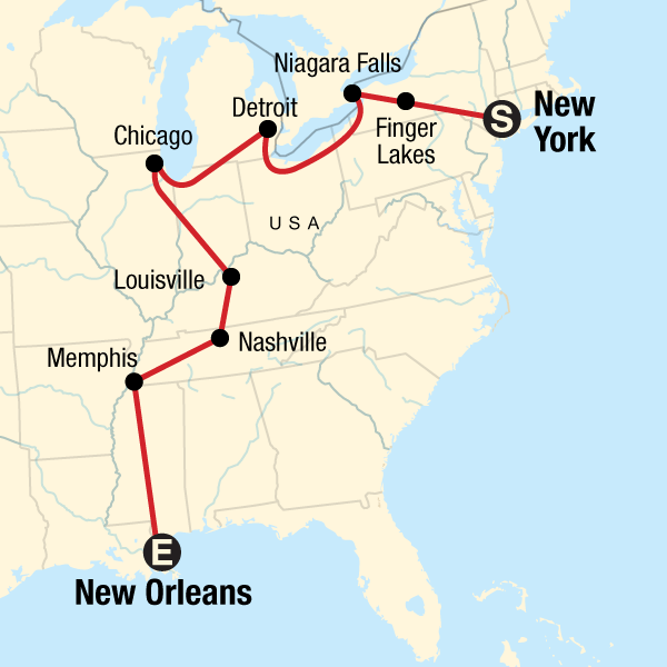 Map of the route for New York to New Orleans Road Trip