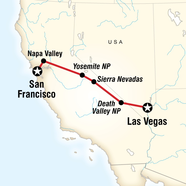 Map of the route for Yosemite Park & Napa Valley – San Francisco to Vegas