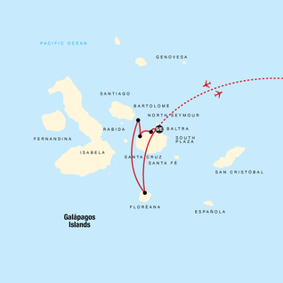 Map of Galápagos Land & Sea — Central & South Islands aboard the Yolita