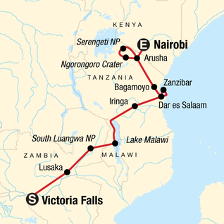 Map of Victoria Falls & Serengeti Overland: Lakes & Landos