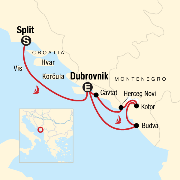 Map of the route for Dalmatian Coast & Montenegro Sailing
