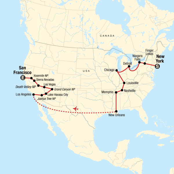 Map of the route for Best of the US Express