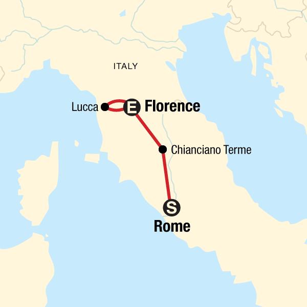 Tuscany Map Of Italy.Wellness Italy Rome Tuscany In Italy Europe G Adventures