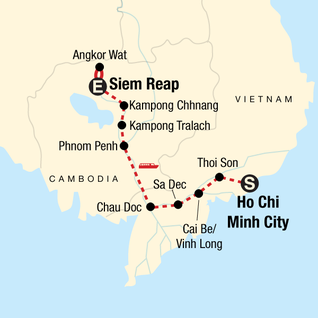 Map of Mekong River Encompassed – Ho Chi Minh City to Siem Reap