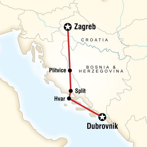 Croatia adventurezagreb to dubrovnik in croatia europe g adventures map of the route for croatia adventurezagreb to dubrovnik gumiabroncs Gallery