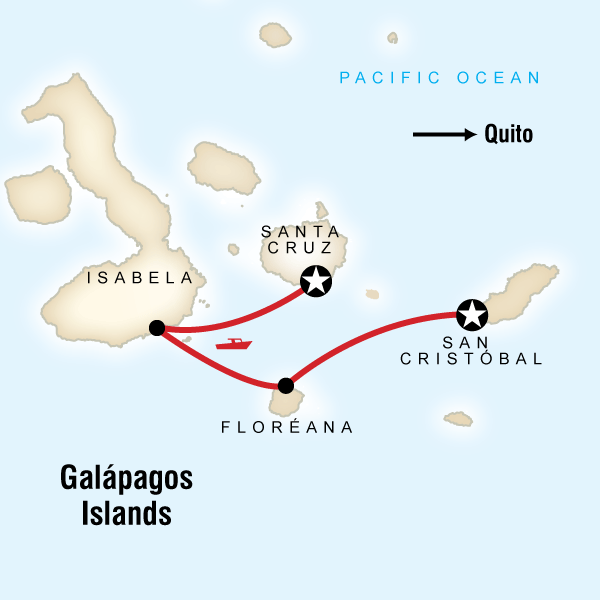 Map of the route for Upgraded Land Galapagos