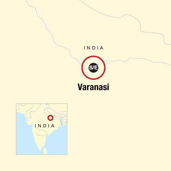 Map of the route for Varanasi Independent Adventure