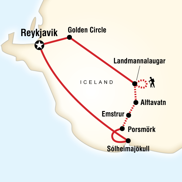 Map of the route for Trekking in Iceland