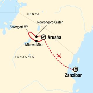 Map of Serengeti Safari & Zanzibar