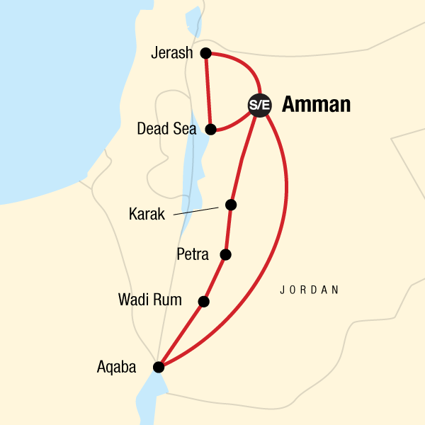 Map of the route for Highlights of Jordan — Plus