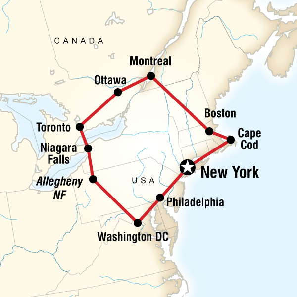 Highlights of the Eastern US & Canada in United States North