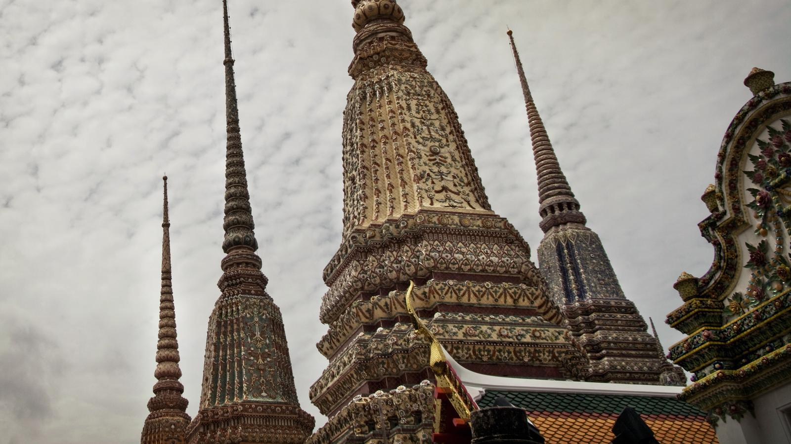 A close-up of the Wat Po temple in Thailand