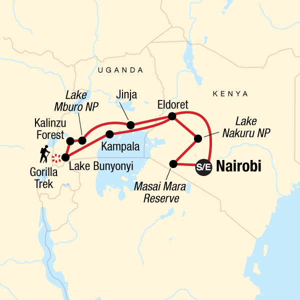 Map of the route for Kenya & Uganda Gorilla Adventure