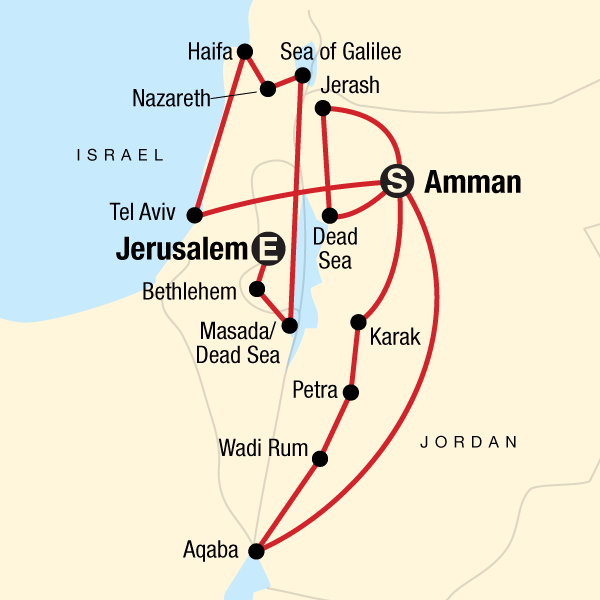 Map of the route for Jordan and Israel Adventure