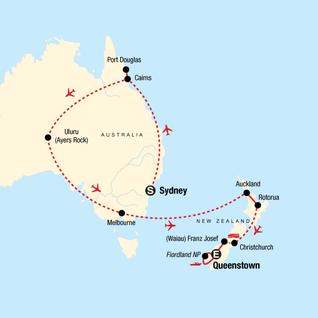 Map of Explore Australia & New Zealand