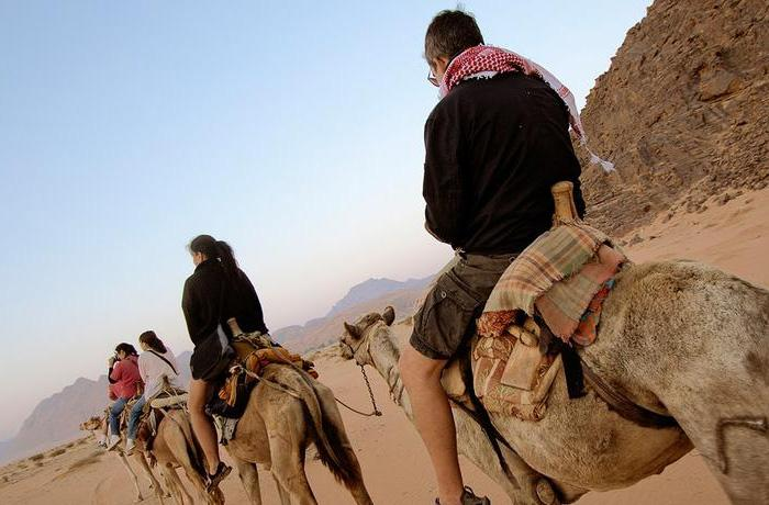 Tourists camel riding in the dry valley of Wadi Rum, Jordan