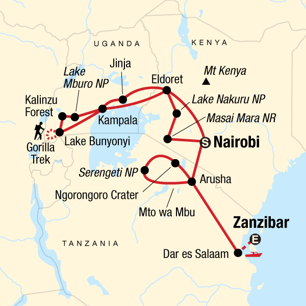 Map of the route for Ultimate East Africa: Mountains & the Masai Mara