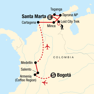 Map of Colombian Culture, Caribbean & Lost City