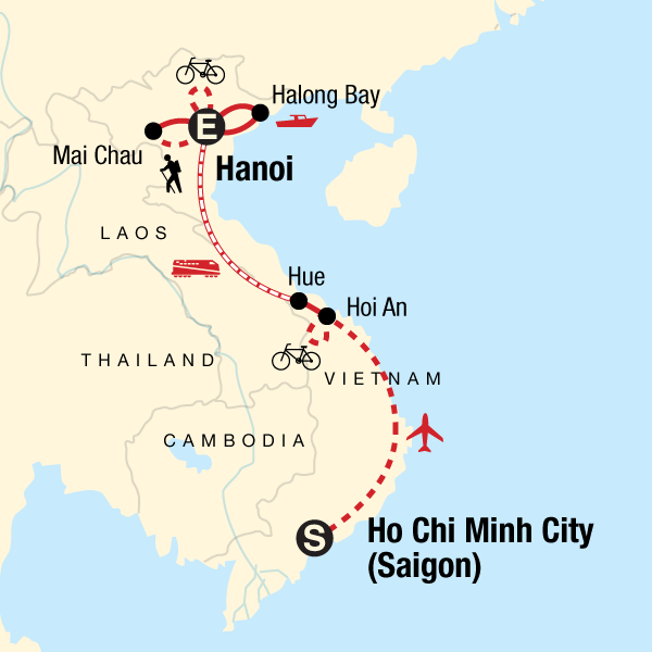 Map of the route for Vietnam Hike, Bike & Kayak