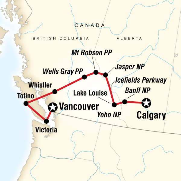 National Parks Of The Canadian Rockies Westbound In Canada