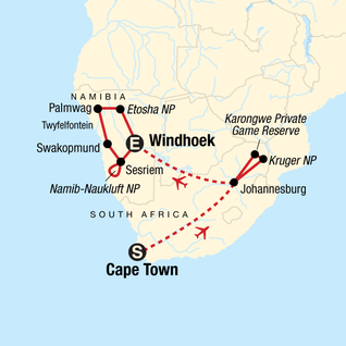 Map of Cape Town, Kruger & Namibia