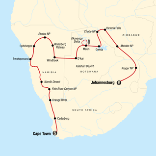 Map of Southern Africa Overland: Cape Town, Falls & Kruger